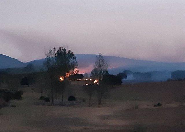 Incendio en la Sierra de Santa Bárbara en Plasencia (Cáceres)