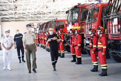 El Rey visitó el viernes la base de la UME en plena campaña contraincendios y contra el Covid