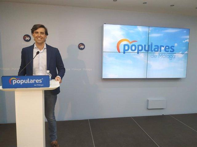 El vicesecretario de Comunicación del PP, Pablo Montesinos, ofrece una rueda de prensa en  Málaga. En Málaga, 3 de agosto de 2020.