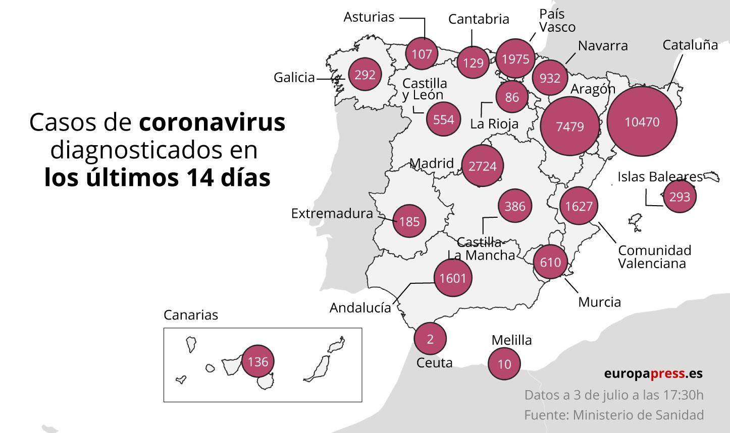 Mapa con casos de coronavirus diagnosticados en los últimos 14 dáis