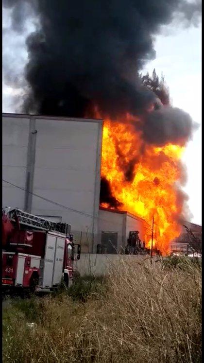 Bomberos de Logroño y del CEIS Rioja colaboran en la extinción de un incendio en una fábrica de barnices de Oyón (Álava)