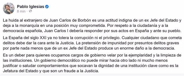"""Iglesias ve """"indigna"""" la """"huida"""" de Juan Carlos I y dice que el Gobierno """"no pue"""
