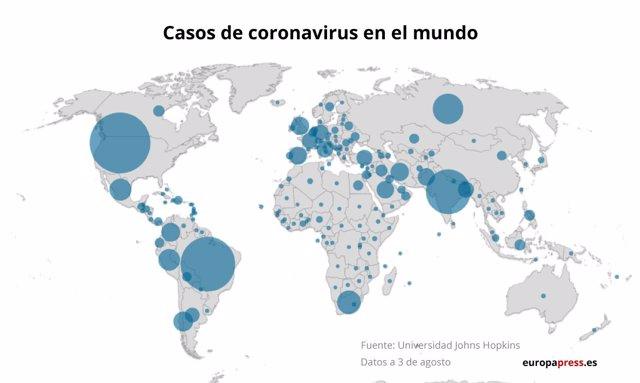 Mapa con casos de coronavirus en el mundo a 3 de agosto