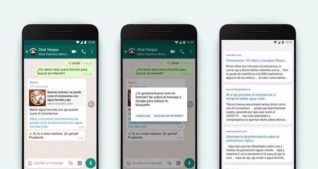 WhatsApp añade búsquedas en Internet para comprobar la información de los mensaj