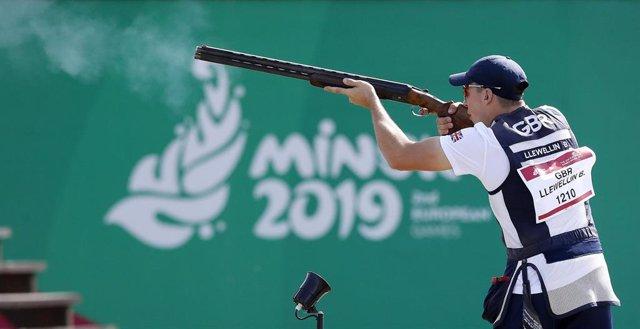 Imagen de una competición de tiro olímpico durante los Juegos Europeos de Minsk en 2019
