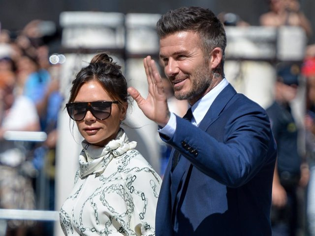 David Beckham and wife Victoria Beckham attend the wedding of real Madrid football player Sergio Ramos and Tv presenter Pilar Rubio at Seville's Cathedral on June 15, 2019 in Seville, Spain.