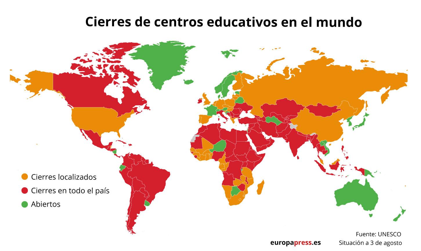 Mapa con situación del cierre de colegios en el mundo