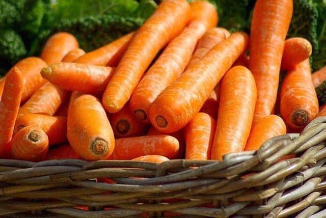 Imagen de archivo de un manojo de zanahorias.