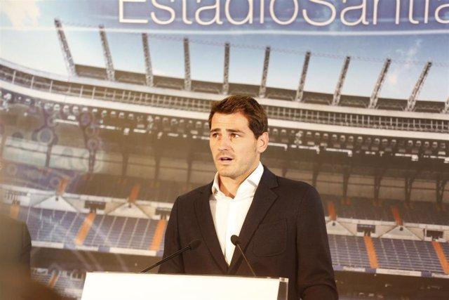 Iker Casillas en el momento de su adiós al Real Madrid