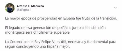 """Mañueco defiende la utilidad de la Corona y de Felipe VI para seguir """"construyendo una España mejor"""""""