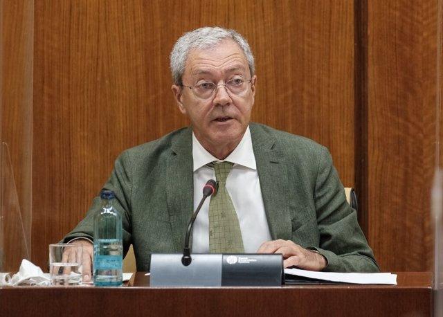 El consejero de Economía, Rogelio Velasco, este jueves durante su comparecencia parlamentaria en comisión.