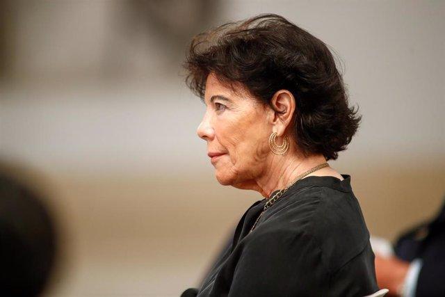 La ministra de Educación y Formación Profesional, Isabel Celaá, durante la presentación del Plan de Modernización de la Formación Profesional, en Moncloa, Madrid (España), a 22 de julio de 2020.