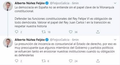 """Feijóo valora el papel de Juan Carlos I en la Transición y critica a los partidos que buscan """"erosionar"""" a la Monarquía"""
