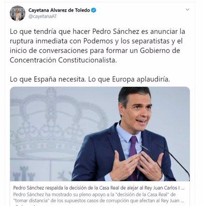 Álvarez de Toledo aconseja a Pedro Sánchez romper con Podemos y buscar un Gobierno de concentración