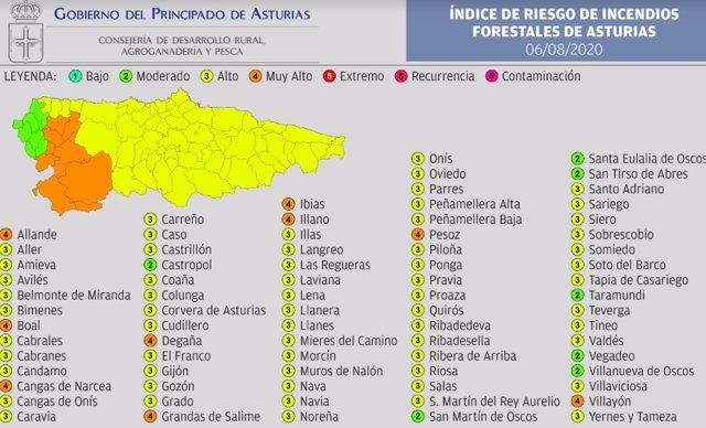Mapa del índice de riesgo de incendios