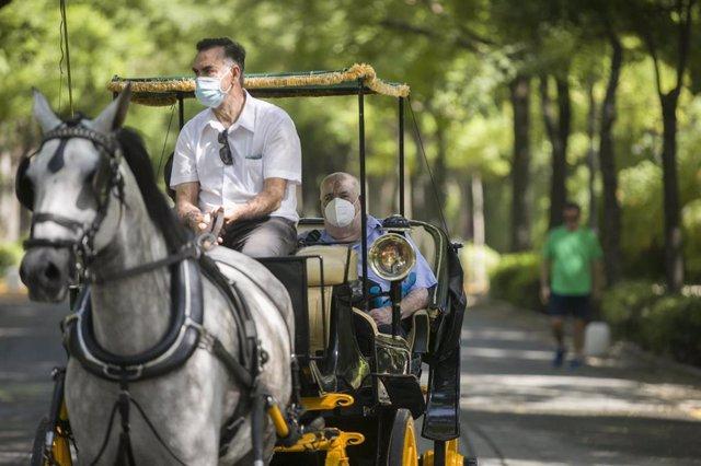 Cocheros de caballos de Sevilla pasean gratuitamente a ancianos residentes en el hogar del Hospital de la Caridad, para reconocerles como colectivo especialmente afectado por la pandemia de coronavirus. En Sevilla, (Andalucía, España), a 25 de junio de 20