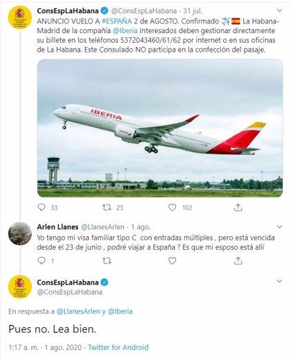 Amonestación verbal al responsable del Twitter del Consulado en La Habana (Cuba) por su mala atención al público