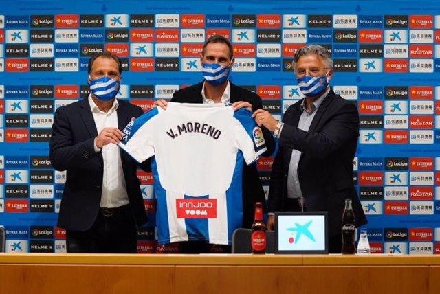 El nuevo entrenador del RCD Espanyol, Vicente Moreno, en su presentación