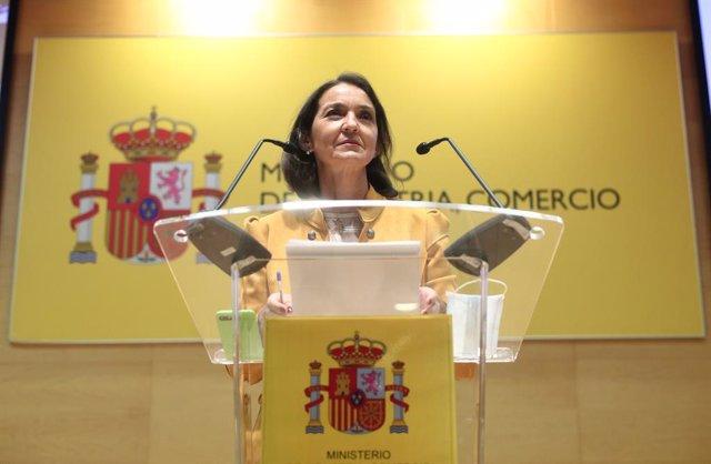 La ministra de Industria, Comercio y Turismo, Reyes Maroto, en una imagen de archivo, en Madrid (España) a 13 de julio de 2020.
