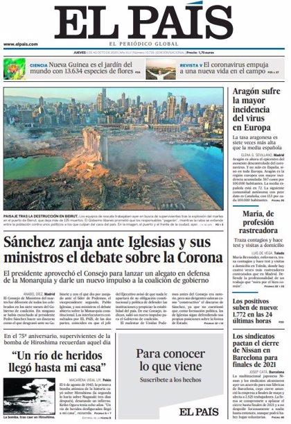 Las portadas de los periódicos del jueves 6 de agosto de 2020