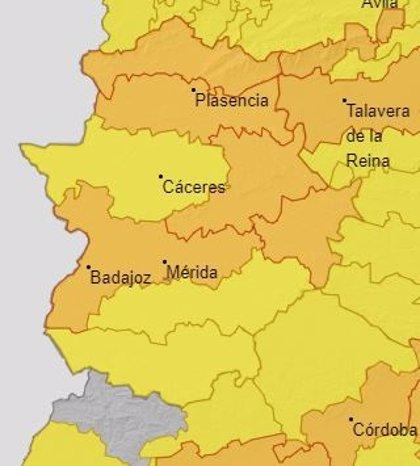 Cinco comarcas extremeñas activarán este jueves la alerta naranja por calor, y el resto estará en alerta amarilla