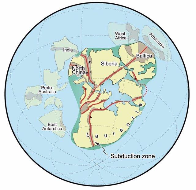 La subducción ensambló el supercontinente Nuna