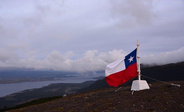 Imagen de archivo de una bandera de Chile.