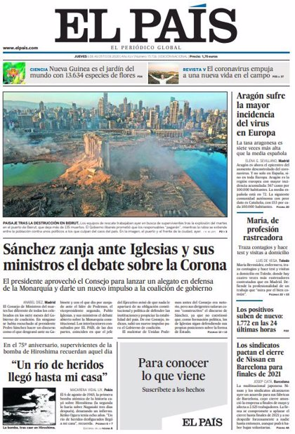 Las portadas de los periódicos del viernes 7 de agosto de 2020