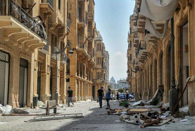 Daños causados por las explosiones registradas en el puerto de la capital de Líbano, Beirut