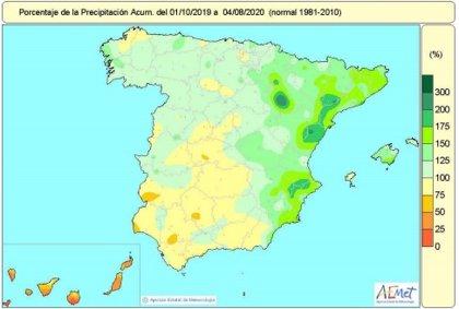 Las precipitaciones acumuladas desde octubre hasta el 4 de agosto superan en un 14% el valor normal