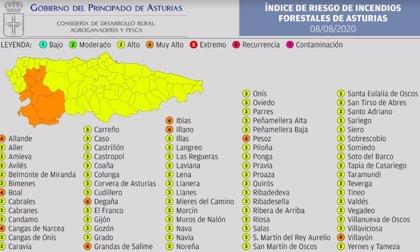 El suroccidente asturiano sigue este sábado con riesgo 'muy alto' de incendios forestales