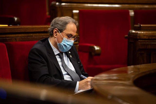 El presidente de la Generalitat, Quim Torra, durante un pleno extraordinario sobre la monarquía.