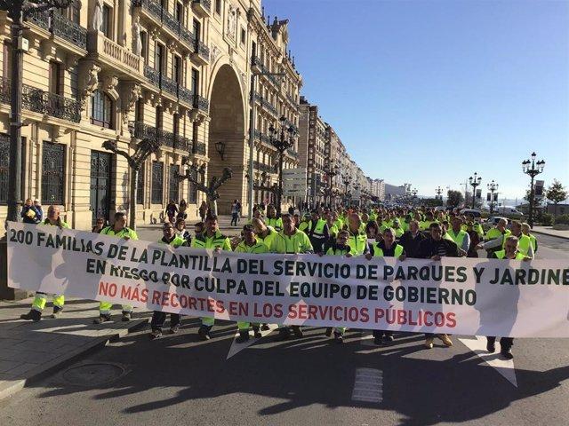 Manifestación de trabajadores de Parques y Jardines de Santander