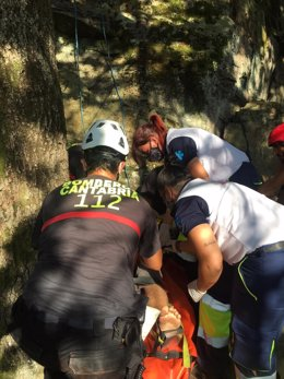 Evacuación del escalador herido