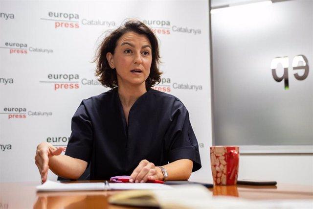 La portavoz del PSC en el Parlament de Catalunya, Eva Granados, durante la entrevista