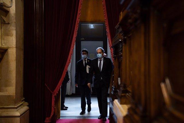 El president de la Generalitat, Quim Torra, en el ple del divendres