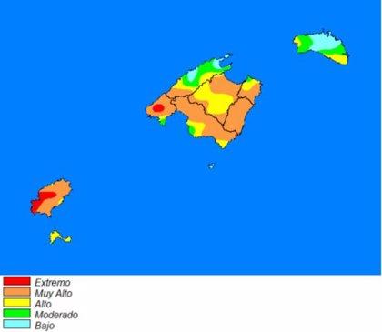La Aemet advierte del riesgo de incendio forestal extremo o muy alto en zonas de Mallorca e Ibiza