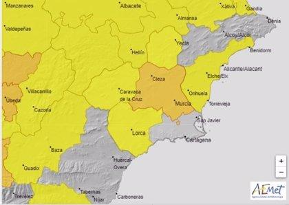 La Aemet eleva este domingo a naranja la alerta por temperaturas de hasta 40 grados en el interior de la Región