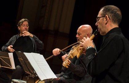 El cuarteto de Urueña interpreta 'La voz de la mujer medieval', en la Iglesia de Santa Cruz de las Serós (Huesca)