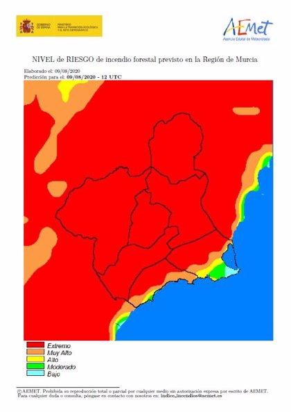 El nivel de riesgo de incendio forestal previsto para este domingo es extremo en casi toda la Región de Murcia