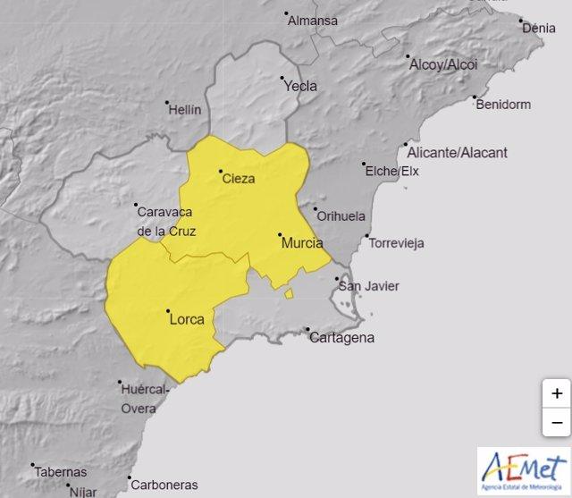 La Vega del Segura y el Guadalentín estarán este lunes en alerta amarilla por altas temperaturas