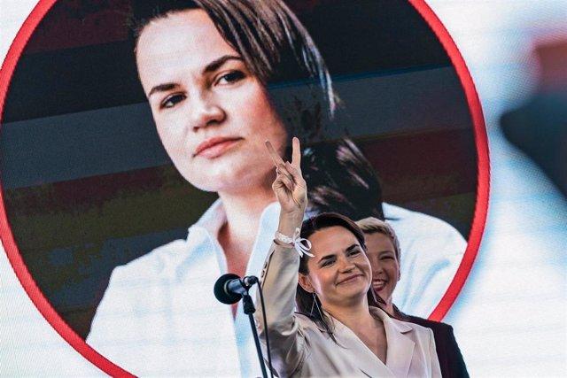 La candidata a la Presidencia de Bielorrusia, Svetlana Tijanovskaya