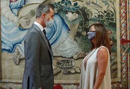 El Rey inicia con Francina Armengol las audiencias con autoridades de Baleares en la Almudaina