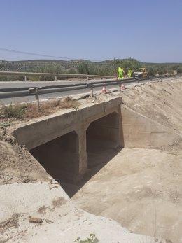 La carretera A-6175, en Lopera (Jaén)