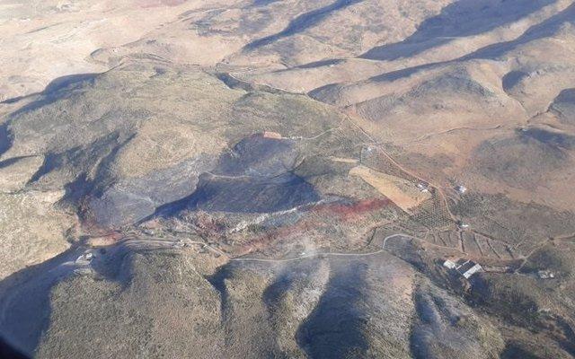 Superficie afectada por el fuego en Bentarique, Almería