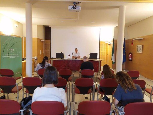 El delegado de Educación en Almería, Antonio Jiménez, en rueda de prensa