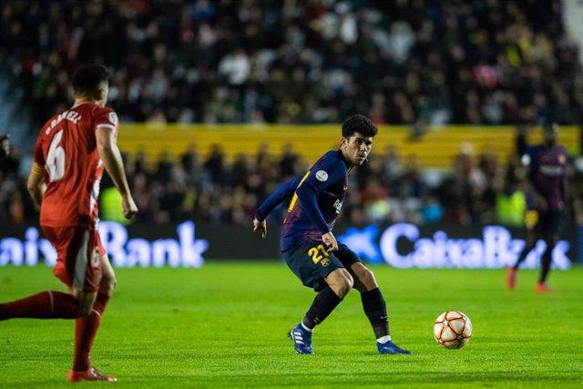 Carles Aleñà durante un partido con el FC Barcelona
