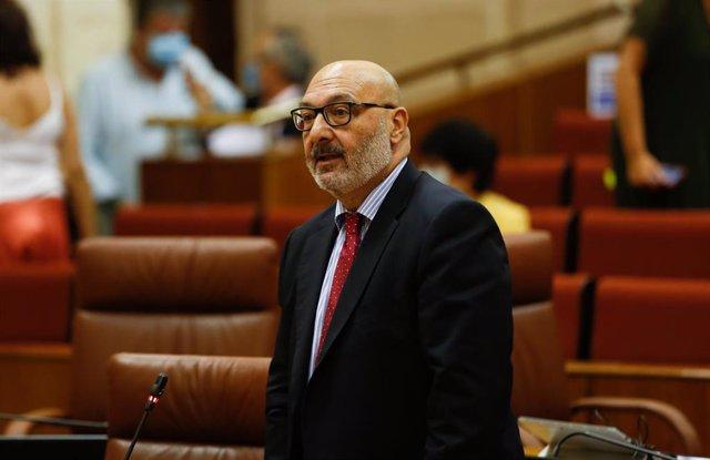El portavoz del grupo parlamentario Vox, Alejandro Hernández, en una foto de archivo en el Pleno del Parlamento.