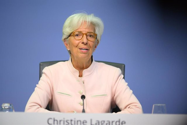 HANDOUT - 16 July 2020, Frankfurt: President of the European Central Bank (ECB) Christine Lagarde speaks during a press conference. The ECB decided again this week to leave its key interest rates unchanged at historic lows, holding its benchmark refinanci