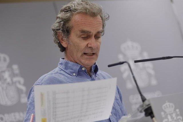 El director del Centro de Coordinación de Alertas y Emergencias Sanitarias, Fernando Simón, ofrece una rueda de prensa para informar de la evolución de la COVID-19, en la Sede del Ministerio de Sanidad, en Madrid (España) a 10 de agosto de 2020.